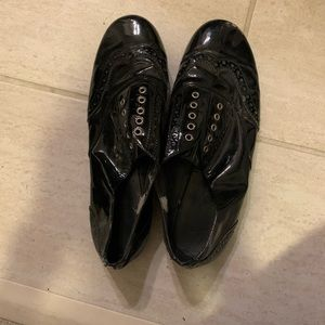 Black slip on patent leather loafers size 7.5